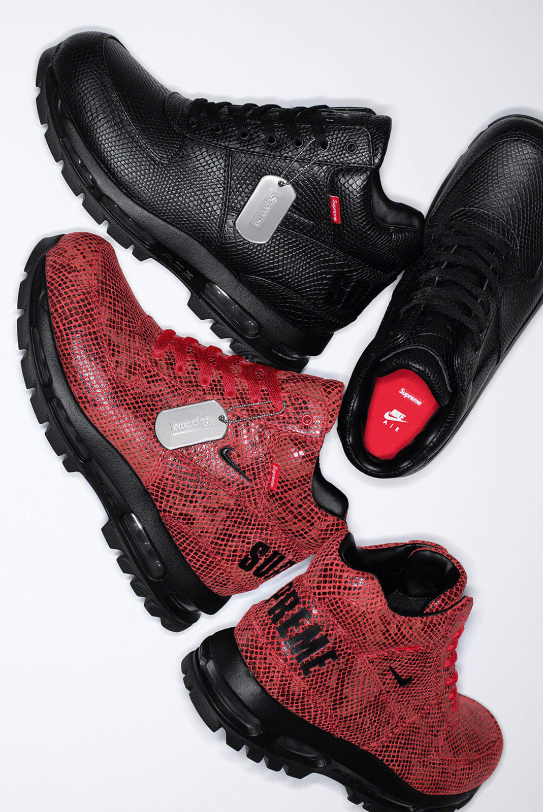 "Supreme x Nike Air Max Goadome ""Black/Black"" & ""Fire Red/Black"""